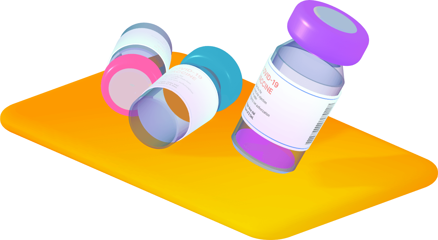 3D rendered vials of COVID vaccine